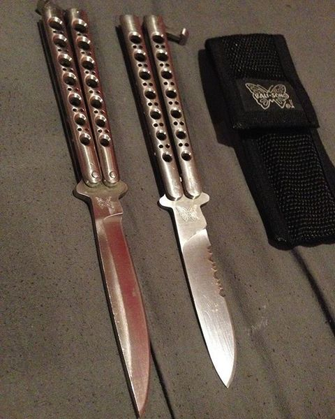 Benchmade - Today's showing my vintage Benchmade butterfly's !! AND YES THERE ARE REAL !!! #flipping #benchmade #bisons #butterflyknife #knife #knives #knifeporn...