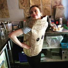 """COFFEEUFEEL - And here we have our very own katewilkinson0 modelling the very couture """"scorch-o-meow"""" biodegradable dress from the autumn/winter 2015 collection by..."""