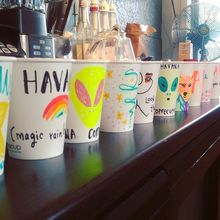 COFFEEUFEEL - This is what happens during quiet periods at work - the felt tips come out to play. havanacoffeeworks #weloveourjob #havanacoffeeworks #coffeeufeel...